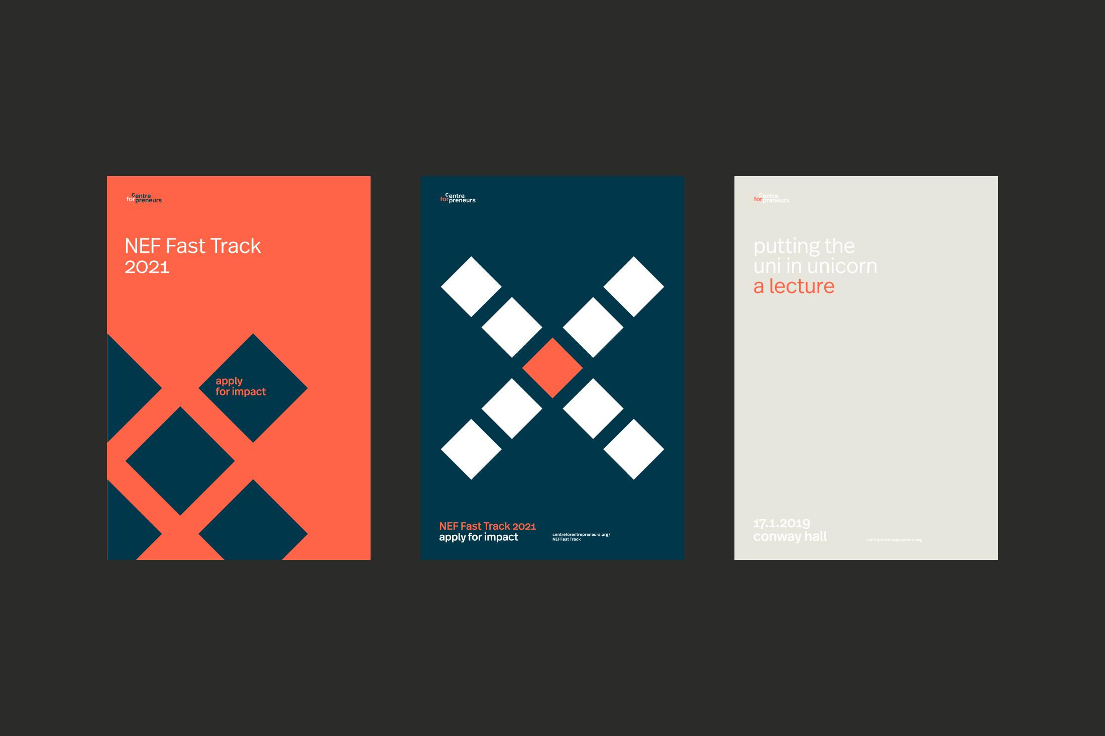 Graphic design system for Centre for Entrepreneurs