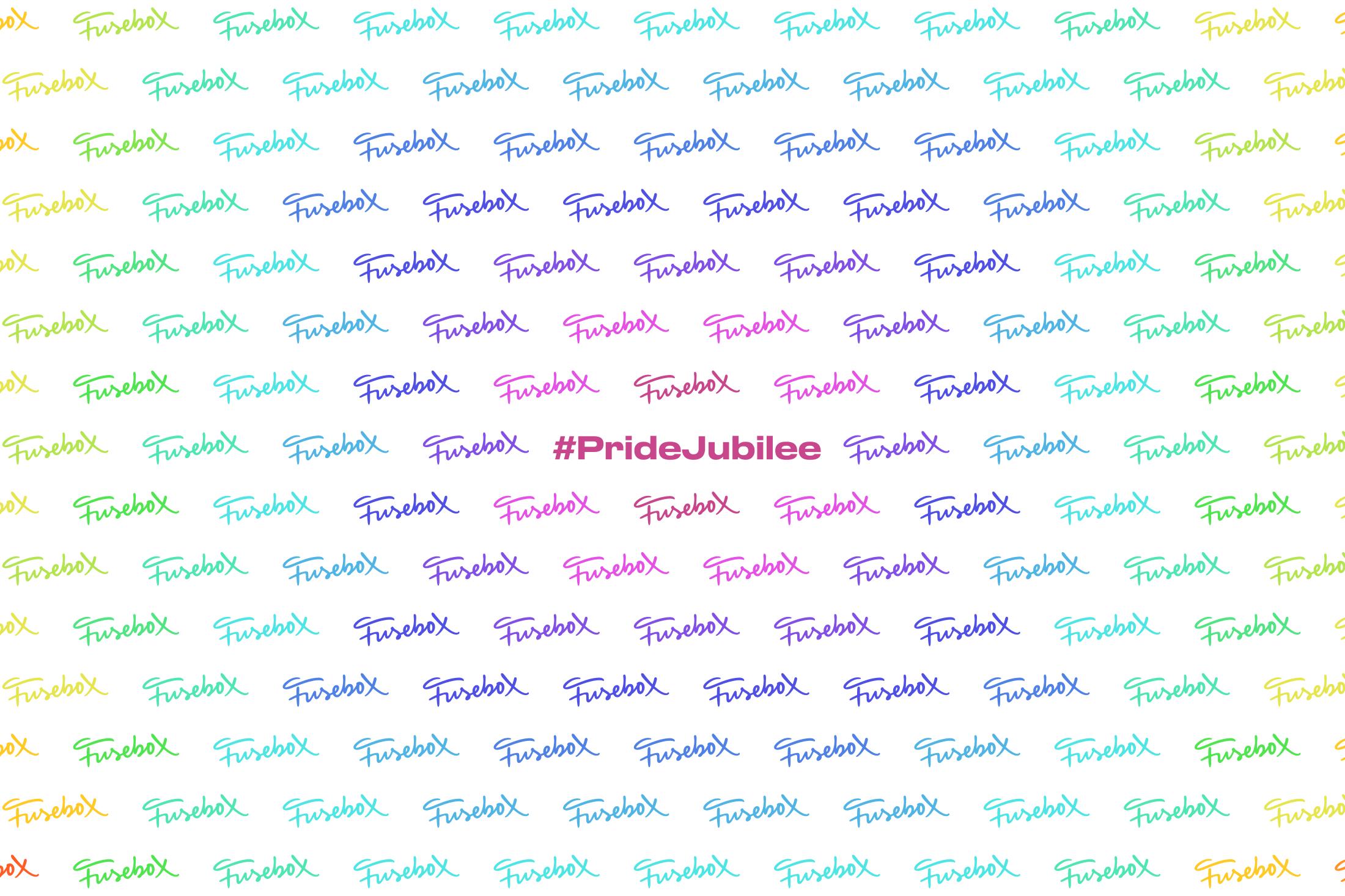 Fusebox logo wall for Pride Jubilee